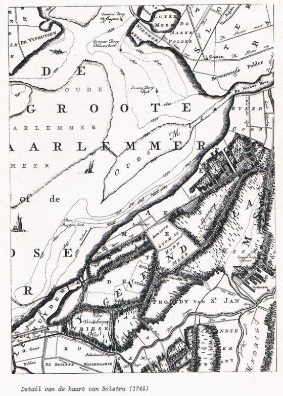 Detail van de kaart van Bolstra 1745