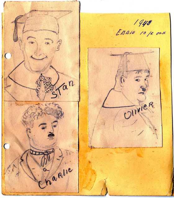 1948 Stan Laurel en Olivier Hardy en Charlie Chaplin (EJM)